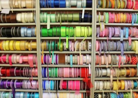 yellow ribbon: Rows of ribbons in shop Stock Photo