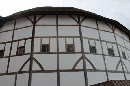 Shakespeare Globe Theatre medieval style building windows detail  Stock Photo - 24589783