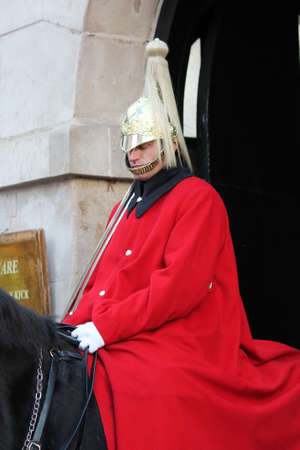 Queens guard cavelry mounted on horse guard