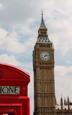 phonebox: Big Ben with red telephone call booth phonebox  Editorial