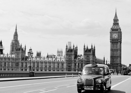 Big ben westminster with black taxi