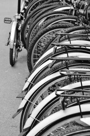 Row of Bikes at bicycle rack stand photo