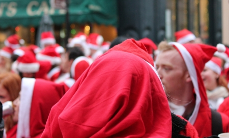 Annual Group crowd of santas in London