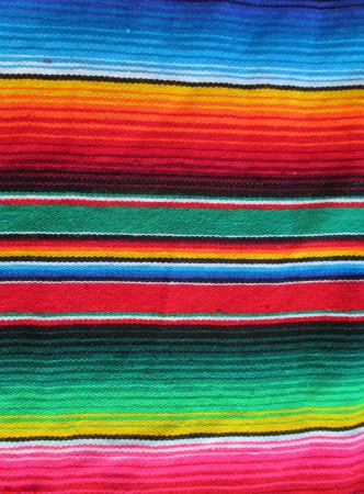 wool rugs: mexican handwoven rug poncho fiesta with stripes and bright colors