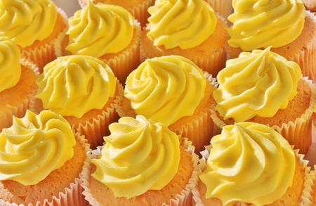 birthday cupcakes: cupcake with yellow icing