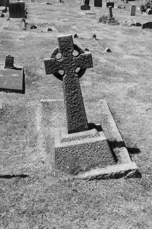graveyard in black and white  photo