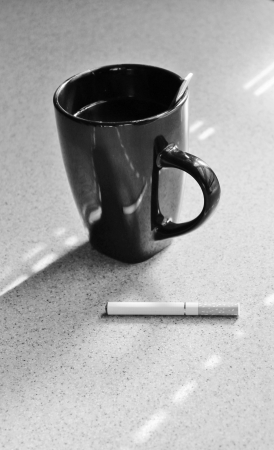 electronic vapour battery powered e cigarette in black and white  photo