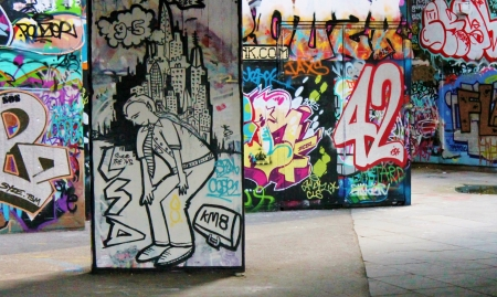 Southbank skate park iconic graffiti london