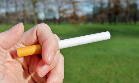 electronic battery powered vapour e-cigarettes against green grass photo