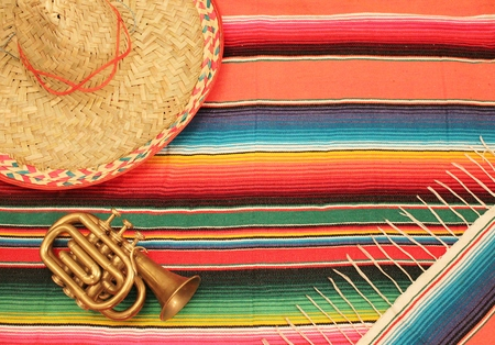 Traditional Mexican fiesta poncho rug in bright colors with sombrero  photo
