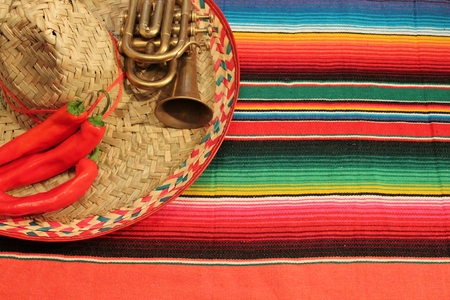 de: Traditional Mexican fiesta poncho rug  in bright colors with sombrero