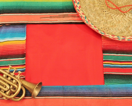 poncho: Traditional Mexican fiesta poncho rug  in bright colors with sombrero