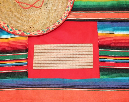 serape: mexico fabric background frame with a hat
