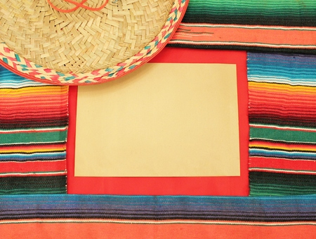 mexico fabric background frame with hat