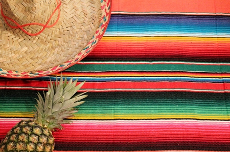 Traditional Mexican fiesta poncho rug in bright colors with pineapple and hat photo