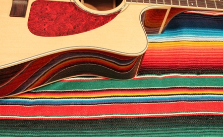 Traditional Mexican fiesta poncho rug  in bright colors with a guitar