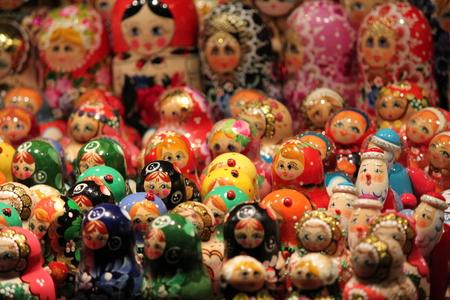 Babushka Russian traditional nesting dolls photo