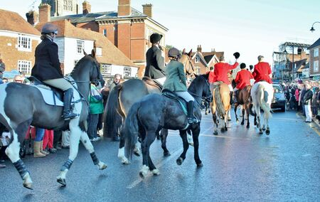 weald: Huntsman ready for the fox hunt on horse with crowd