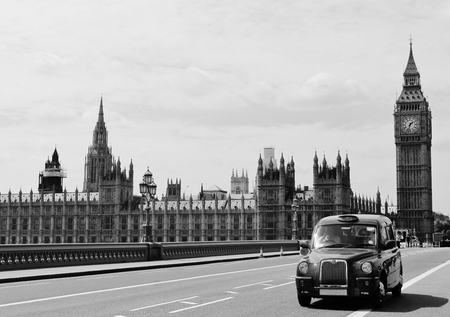 Big ben Westminster London black taxi cab photo