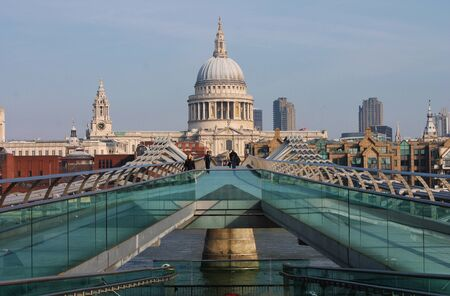 St Pauls and Millennium Bridge, London, UK tourist Editorial