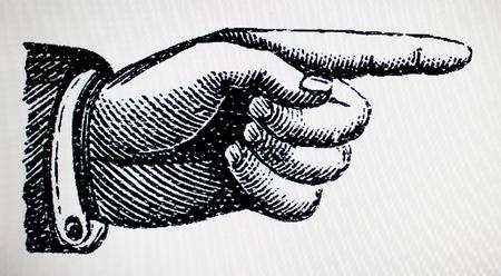 Rétro signe de point de main vintage diriger droit Banque d'images - 26890784