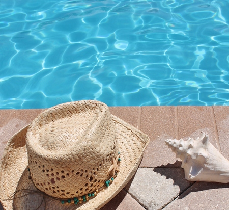 sandels: Poolside holiday scenic cowboy hat, shell,