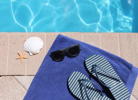 sandels: Swimming pool shoes thongs flip flops towel and shell starfish