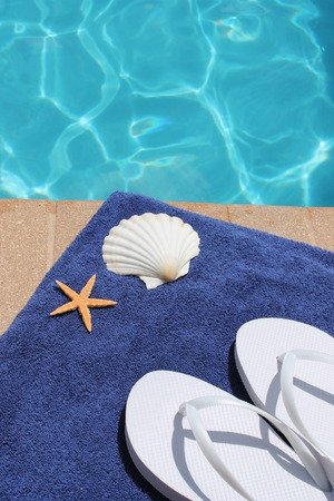 sandels: Swimming pool shoes thongs flip flops towel and shell starfish