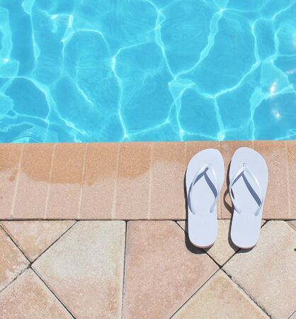 Poolside holiday vacation scenic swimming pool summer sandels shoes