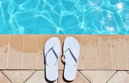 sandels: Poolside holiday vacation scenic swimming pool summer sandels shoes
