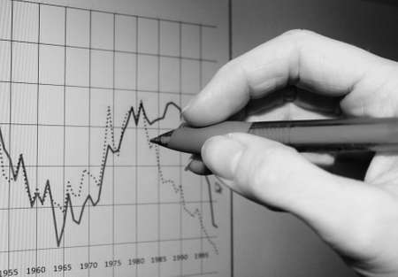 to analyze: Market Analyze on screen with hand Stock Photo