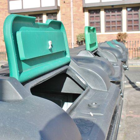 outside: Trash can dustbins outside
