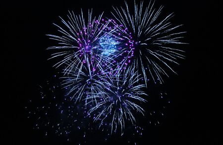 guy fawkes night: Firework display cluster explosions Stock Photo