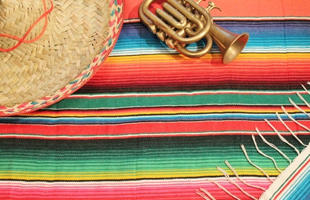 Mexico fiesta poncho background with copyspace