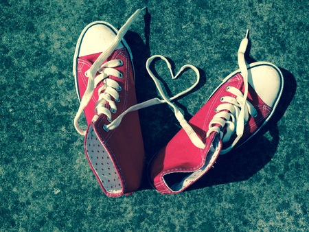 Love heart baseball boots sneakers laces Stock Photo