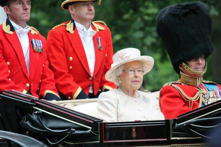 publicly: London, UK - June 13 2015: The Queen Elizabeth and Prince Phillip appear during Trooping the Colour ceremony, on June 13, 2015 in London, England, UK Editorial