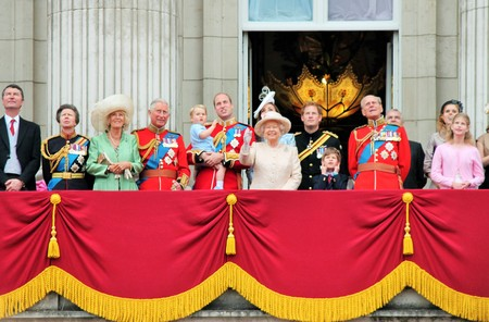 queen elizabeth: LONDON, UK - JUNE 13: The Royal Family appears on Buckingham Palace balcony during Trooping the Colour ceremony, also Prince Georges first appearance on balcony, on June 13, 2015 in London Editorial