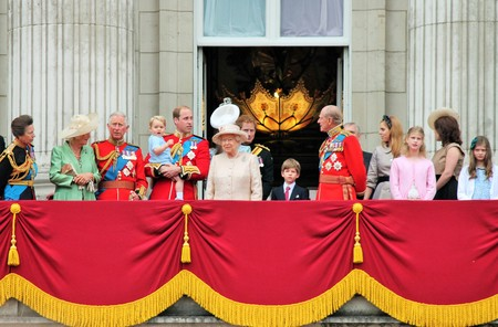 duke: LONDON, UK - JUNE 13: The Royal Family appears on Buckingham Palace balcony during Trooping the Colour ceremony, Prince Georges first apperance on Balcony, on June 13, 2015 in London, England, UK