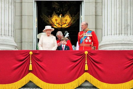 buckingham: LONDON, UK - JUNE 13: The Royal Family appears on Buckingham Palace balcony during Trooping the Colour ceremony, Prince Georges first apperance on Balcony, on June 13, 2015 in London, England, UK