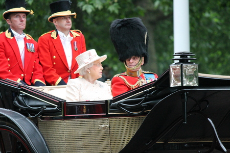 London, UK - June 13 2015: The Queen Elizabeth and Prince Phillip appear during Trooping the Colour ceremony, on June 13, 2015 in London, England, UK Editorial