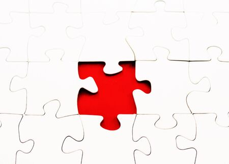 missing piece: blank jigsaw puzzle missing piece Stock Photo