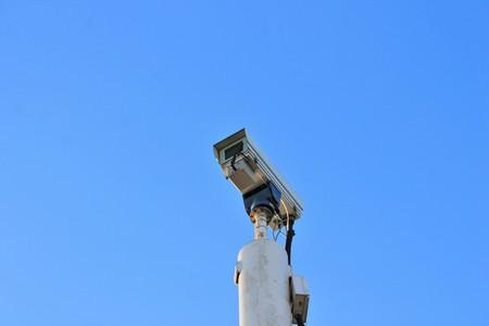larceny: cctv Security camera with blue sky