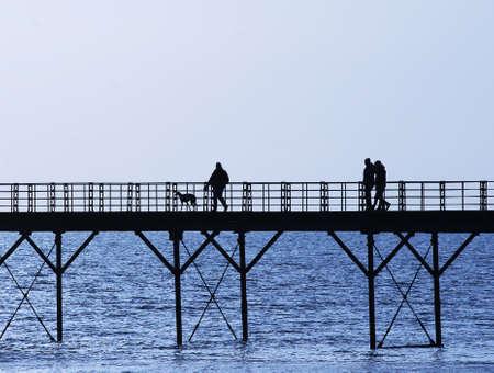 west sussex: View of Bognor Regis seaside pier at beach with water