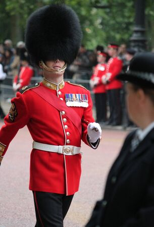 royal guard: London, UK-July 06, coldstream soldier of the royal guard, July 06.2015 in London