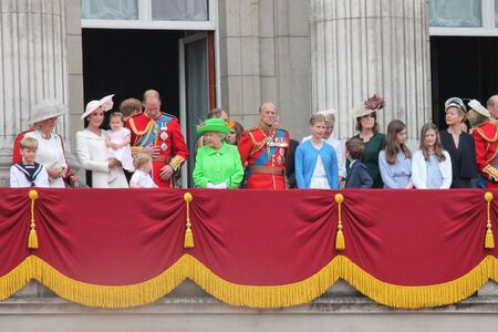 royal family: Westminster, London, ENGLAND – June 11, 2016: The British Royal family appear on the Balcony of Buckingham Palace during the trooping of the colour for Queen Elizabeths 90th Birthday.