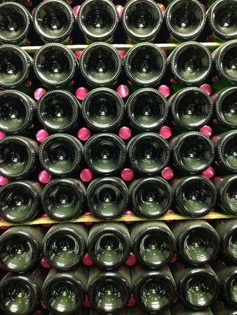 stow: Wine bottles at vineyard production stage