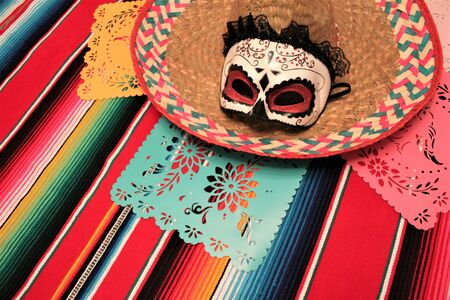 Mexico poncho sombrero skull background fiesta cinco de mayo decoration bunting flag
