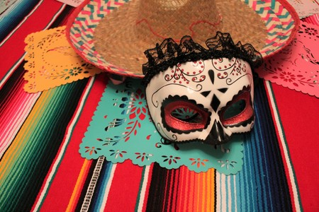 Mexico poncho sombrero skull background fiesta cinco de mayo decoration bunting flag
