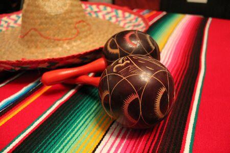 Mexico poncho sombrero maracas background fiesta cinco de mayo decoration bunting flags