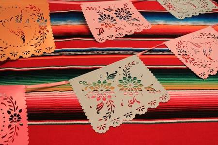 Mexico poncho serape background fiesta cinco de mayo decoration bunting flags Stock Photo